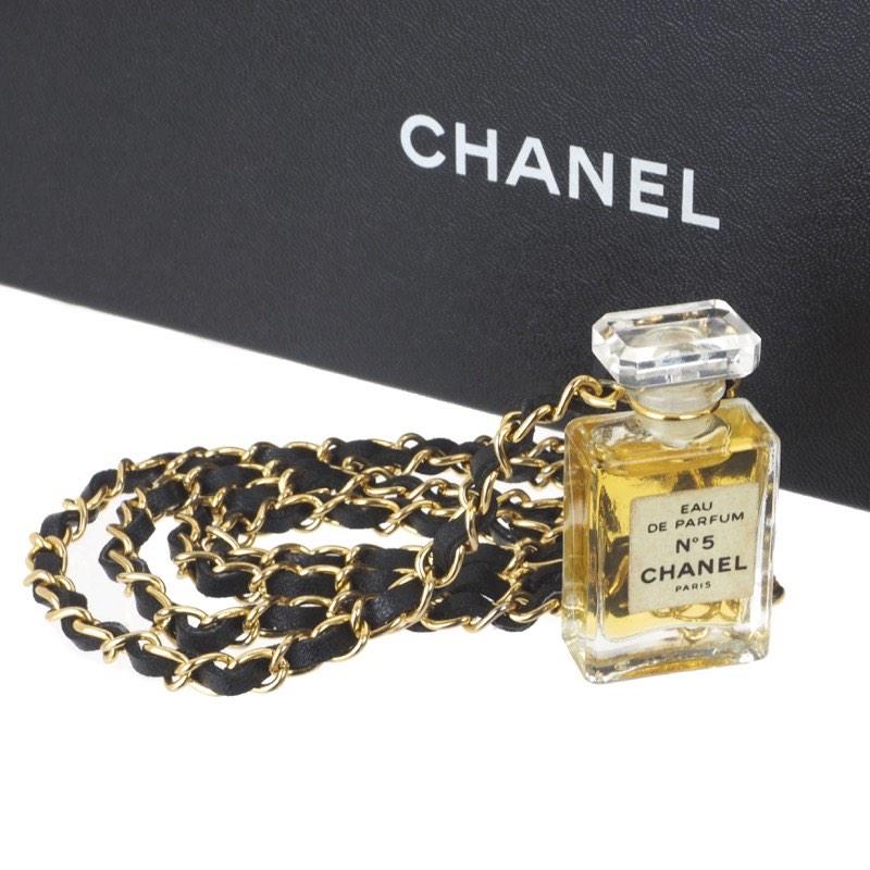 cd4af2f2 Vintage Chanel No.5 Perfume Bottle Chain Necklace