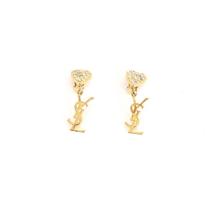 c7d5cccf94e Vintage Yves Saint Laurent Heart Rhinestone Dangle YSL Earrings ...