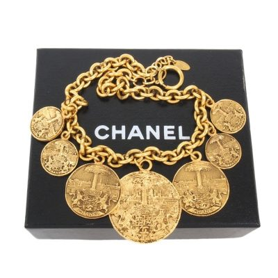 Vintage Chanel Huge Medallion Dangle Charm Necklace