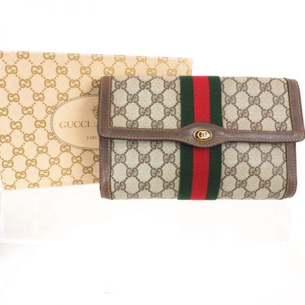 3086c20d2699a3 Vintage Gucci Monogram Beige Canvas Ribbon Flap Pristine Clutch Bag ...