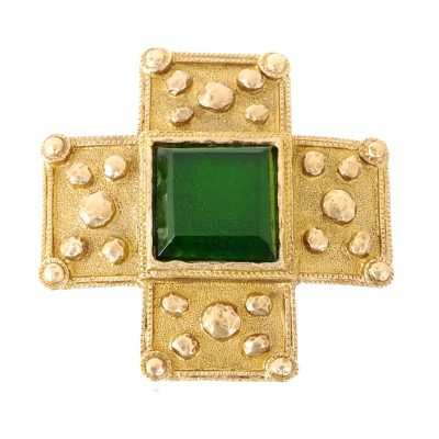Vintage Chanel Green Cross Gripoix Pin Mint  Brooch