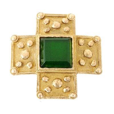 Vintage Chanel Green Cross Gripoix Pin Mint  Brooch