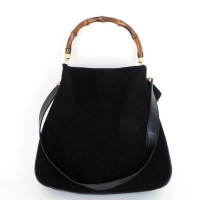 Vintage Gucci XL Jumbo Bamboo Suede Shoulder Strap Hand Bag