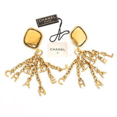 Vintage Chanel Dangle Chain Logo Letter NWT Earrings