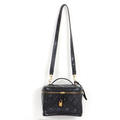 Vintage Chanel Large Quilted Vanity Case Strap Shoulder Bag