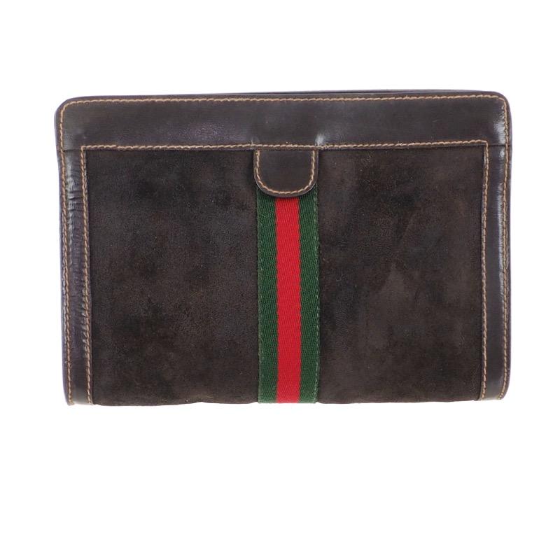 e210eb4ab1043 Vintage Gucci Brown Suede Canvas Clutch Bag - Nina Furfur Vintage ...