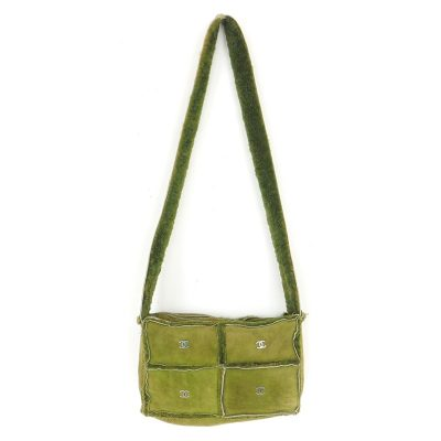 Vintage Chanel Maccha Green Mouton Logo Shoulder Bag