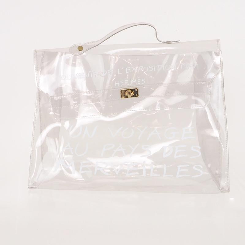 cb04484fb22a Vintage Hermes Clear Kelly Vinyl Hand Bag - Nina Furfur Vintage ...