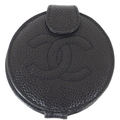 Vintage Chanel Caviar Black Fold Round Mirror Case Accessory