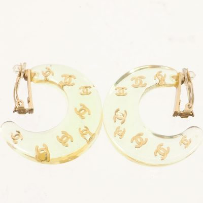 Vintage Chanel Crescent Moon Clean Large Logo  Earrings