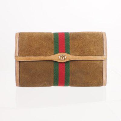 Vintage Gucci Large Suede Ribbon  Clutch Bag