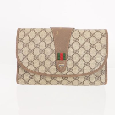 Vintage Gucci Monogram Round Flap Medium Clutch Bag