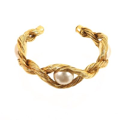 Vintage Chanel Twist Metal Faux Pearl Bangle Bracelet