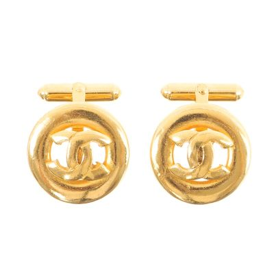 Vintage Chanel Cufflinks Unisex Gold Plated  Accessory