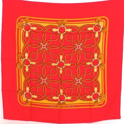 Vintage Hermes Pristine Red Yellow Gold Silk  Scarf