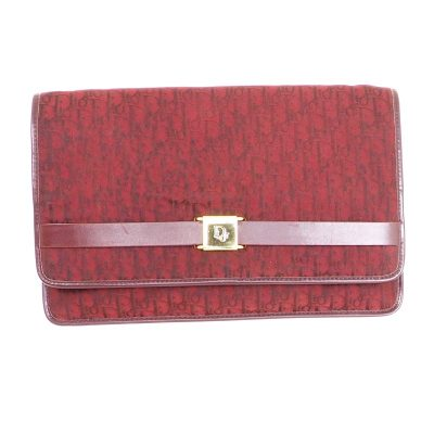 Vintage Christian Dior Burgundy Red Monogram Large Clutch Bag