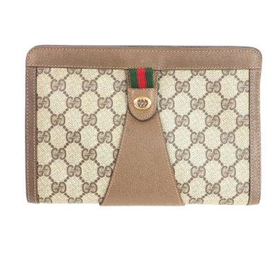 Vintage Gucci Monogram Medium Sized  Clutch Bag