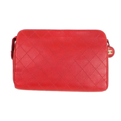 Vintage Chanel Lipstick Red Quilted Large Zipper Clutch Bag
