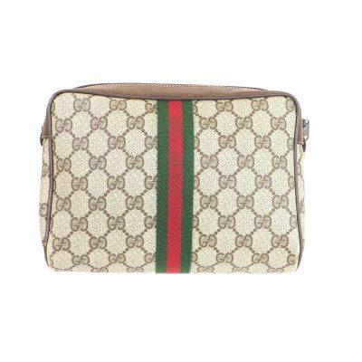 Vintage Gucci Monogram Box Zipper  Clutch Bag