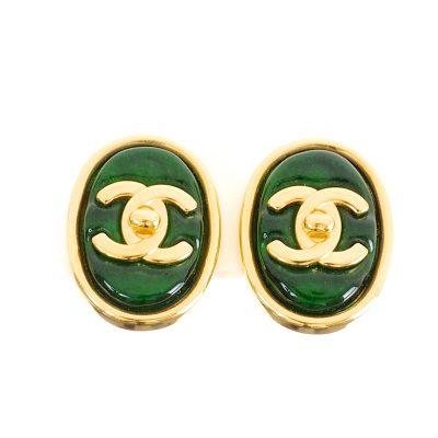 Vintage Chanel Green Gripoix Turn Lock Clip Earrings