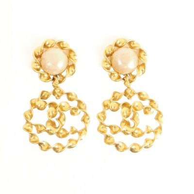 Vintage Chanel XL Jumbo Twisted Frame Dangle Earrings
