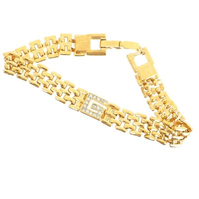 Vintage Givenchy Rhinestone G Logo Gold Pristine Bracelet