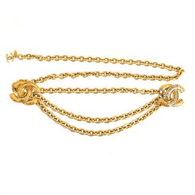 Vintage Chanel Double Quilted Chain Motif Logo CC Necklace. Belt