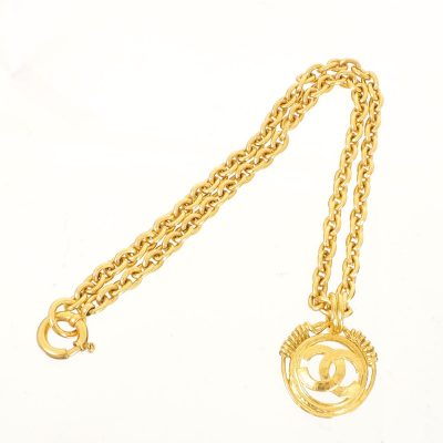 Vintage Chanel Medallion Large Charm Gold Necklace