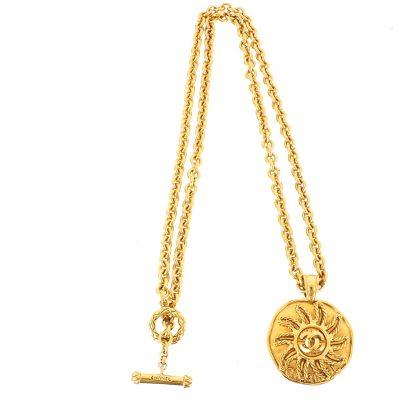 Vintage Chanel Sun Motif Long Chain Pendant Necklace
