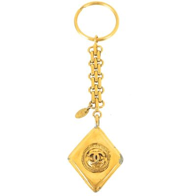 Vintage Chanel Diamond Shaped Logo Gold Keychain Accessory