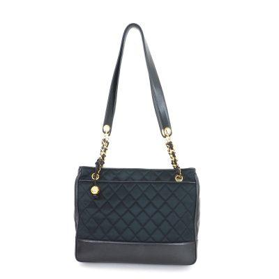Vintage Chanel Satin Lamb Quilted Chain Tote Shoulder Bag