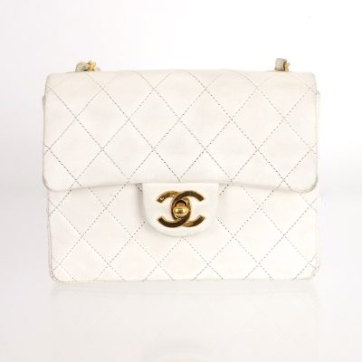 Vintage Chanel White Quilted Chain Signature Turn Lock Shoulder Bag