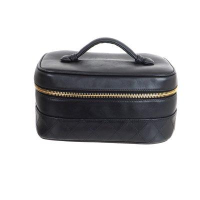 Vintage Chanel Quilted Bottom Vanity Case Clutch Bag