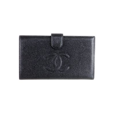 Vintage Chanel Long Clutch Caviar Black Full Set Wallet