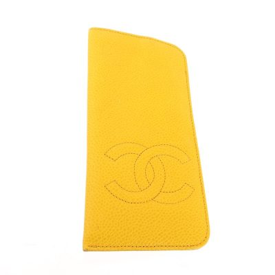 Vintage Chanel Lemon Yellow Caviar Skin Glasses Case Accessory