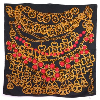 Vintage Chanel Extra Large Bijoux Print Silk  Scarf