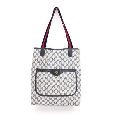 Vintage Gucci Blue Red Monogram Canvas Large Shoulder Bag