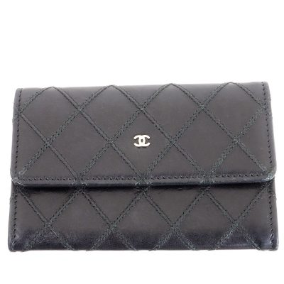 Vintage Chanel Card Coin Mini Case Black Leather  Wallet