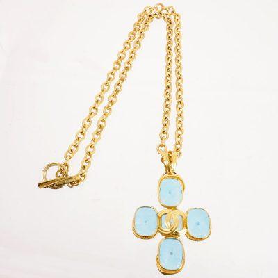 Vintage Chanel 96P Gripoix Large Glass Blue Chain  Necklace
