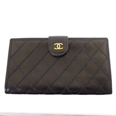 Vintage Chanel Quilted Black Long Clutch Pristine  Wallet