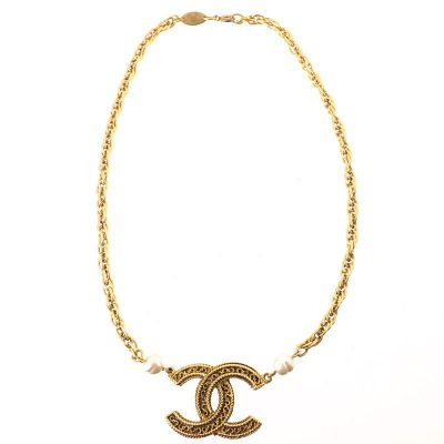 Vintage Chanel Faux Pearl CC Logo Twisted Chain Necklace