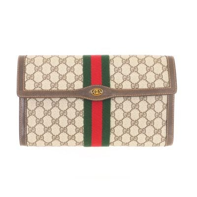 Vintage Gucci Large Monogram Canvas Ribbon Excellent Clutch Bag