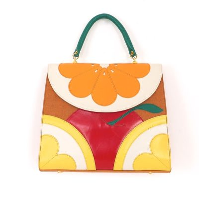 Vintage Moschino Fruit Motif Pristine 1993 Collection Colorful  Hand Bag