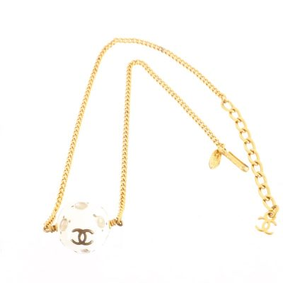 Vintage Chanel 98P Collection Mirror Ball Charm Chain Necklace