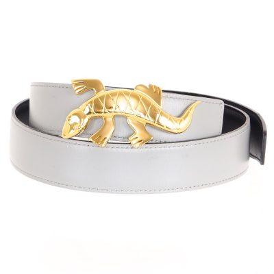 Vintage Hermes Gold Lizard Reversible Gray  Belt