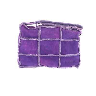 Vintage Chanel Mouton Hot Purple Square  Shoulder Bag