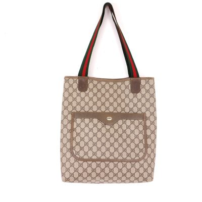 Vintage Gucci Monogram Canvas Ribbon Large Tote Hand Bag