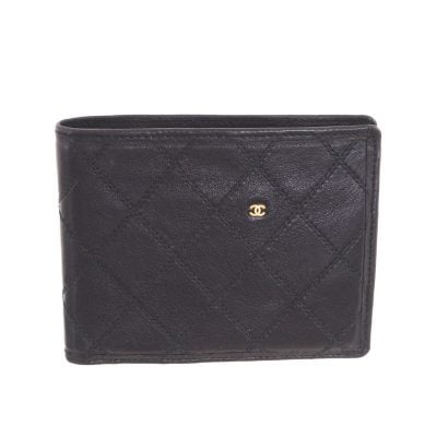 Vintage Chanel Bi Fold Black Double Stitched  Wallet
