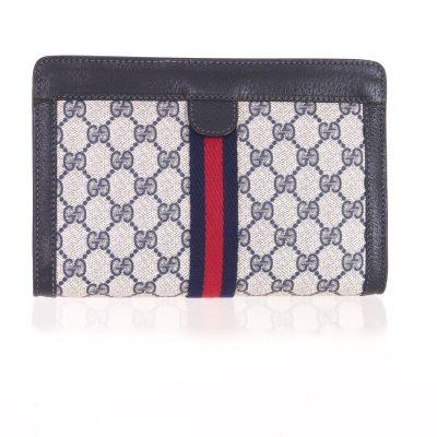 Vintage Gucci Excellent Mint Monogram Blue Red Clutch Bag