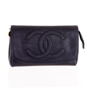 Vintage Chanel Caviar Skin Clutch Purse Mirror  Pouch